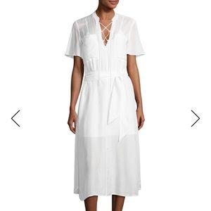FRAME Lace up Midi Shirt dress, Blanc